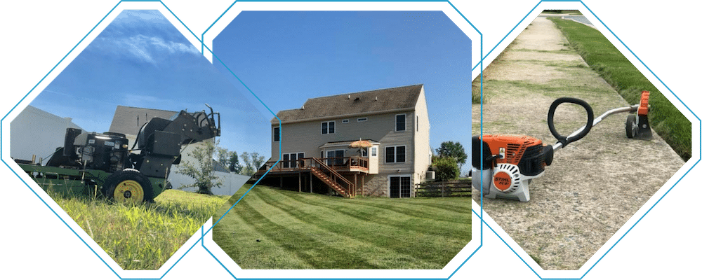 A collage of three photos from Susquehanna Lawn Care. The first photo is a large commercial mower. The second photo is of a home surrounded by freshly mowed grass. The third photo us of a weed eater resting on a freshly edged sidewalk.