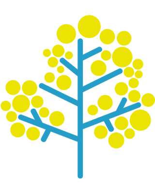 Blue and yellow tree icon.