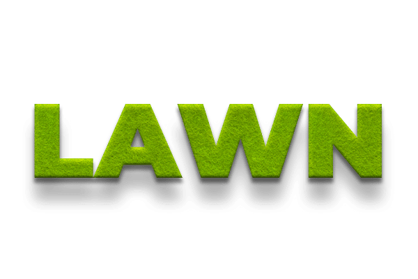 The word 'lawn' wrote in text styled as grass.